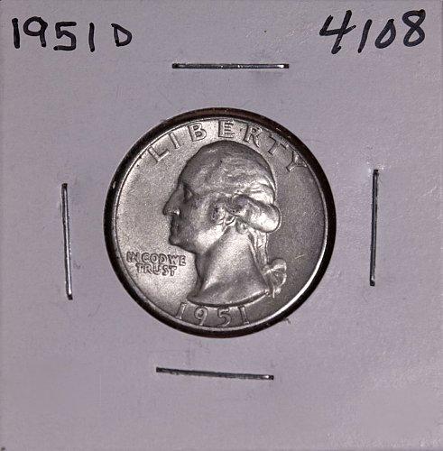 1951 D WASHINGTON QUARTER #4108