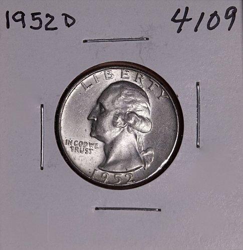 1952 D WASHINGTON QUARTER #4109