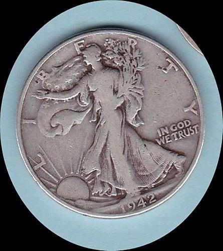 1942 WALKING LIBERTY HALF DOLLAR  50C     (217)