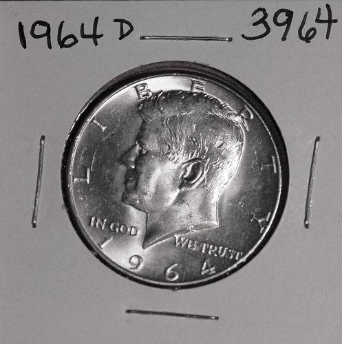 1964 D KENNEDY 90% SILVER HALF #3964