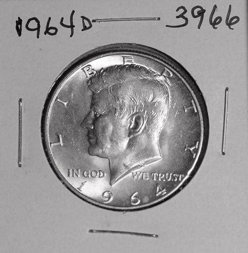 1964 D KENNEDY 90% SILVER HALF #3966