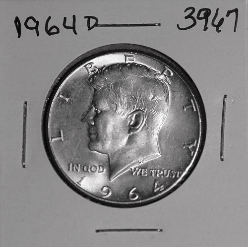 1964 D KENNEDY 90% SILVER HALF #3967 CHOICE MS, FREE SHIPPING !