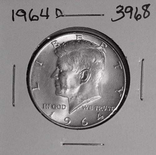 1964 D KENNEDY 90% SILVER HALF #3968