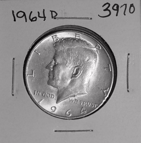1964 D KENNEDY 90% SILVER HALF #3970