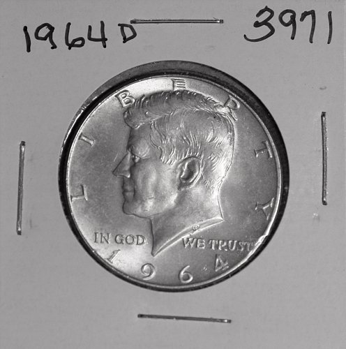1964 D KENNEDY 90% SILVER HALF #3971