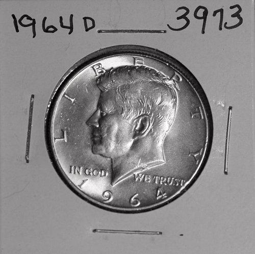 1964 D KENNEDY 90% SILVER HALF #3973