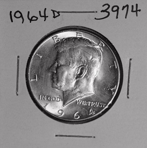 1964 D KENNEDY 90% SILVER HALF MS  #3974