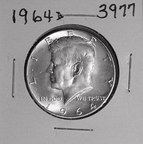 1964 D KENNEDY 90% SILVER HALF #3977