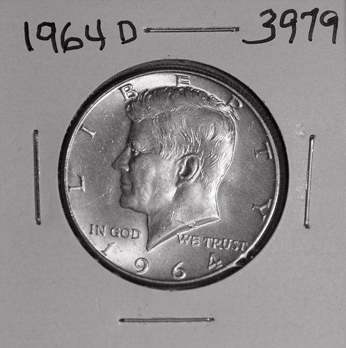 1964 D KENNEDY 90% SILVER HALF AU  #3979