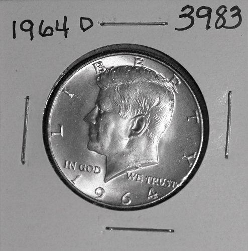1964 D KENNEDY 90% SILVER HALF #3983