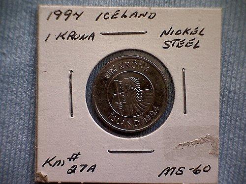 1994 ICELAND ONE KRUNA