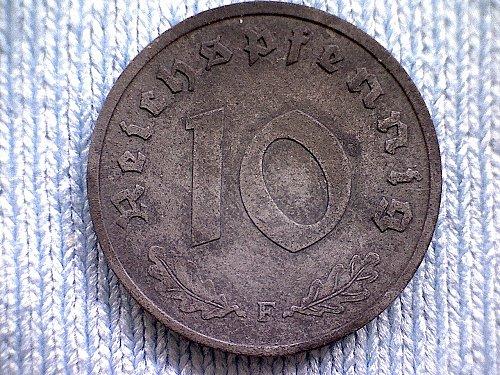 """1948F GERMANY TEN REICHSPFENNIG  """"ZINC"""""""