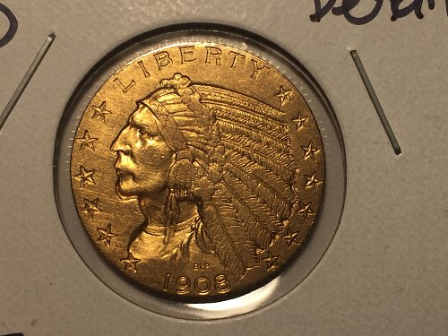 1908 D Indian Head Gold $5 Half Eagle