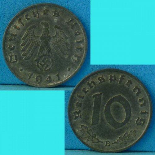Germany 3rd Reich 10 Pfennig 1941B km 101