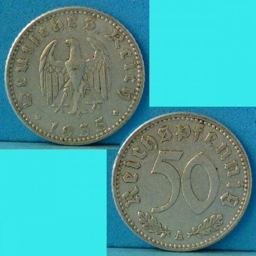 Germany 3rd Reich 50 Pfennig 1935A km 87