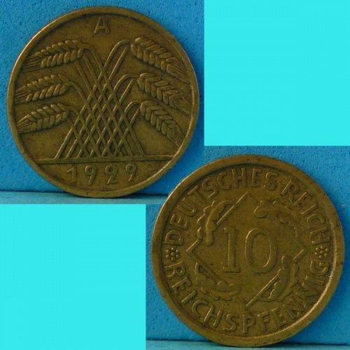 Germany Weimar 10 Pfennig 1929A km 40