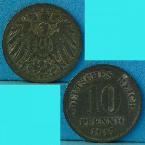 Germany Empire 10 Pfennig 1917 km 26 Zinc