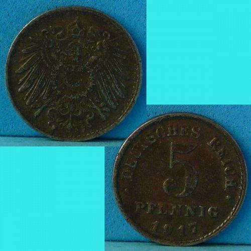 Germany Empire 5 Pfennig 1917 F km 19 Iron