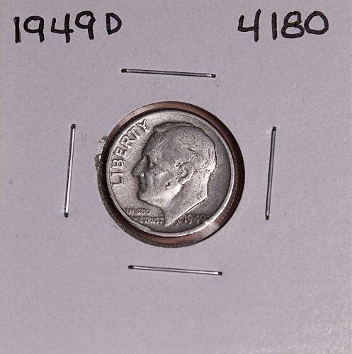 1949 D ROOSEVELT DIME #4180