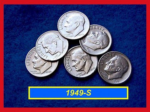 1949-S Roosevelt Dimes ••• XF-AU Condition  •••   (#3409a)