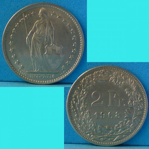 Switzerland 2 Francs 1968 km 21a.1