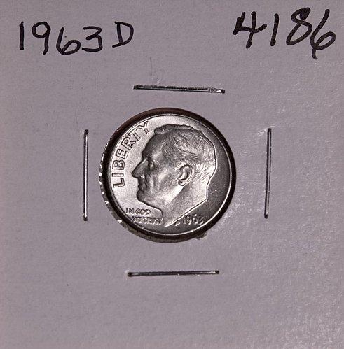 1963 D ROOSEVELT DIME #4186