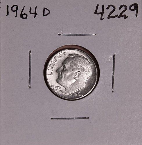 1964 D ROOSEVELT DIME BU #4229