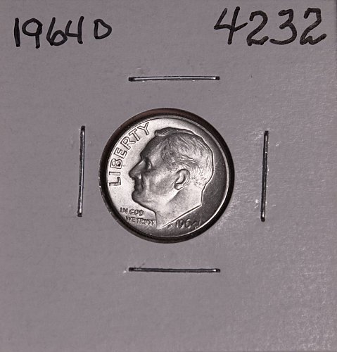 1964 D ROOSEVELT DIME BU #4232