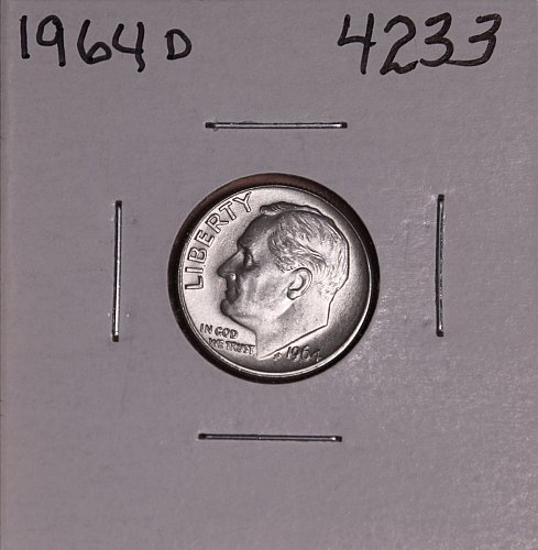 1964 D ROOSEVELT DIME BU-MS #4233