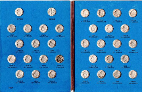 Complete Roosevelt Silver Dime collection Whitman folder grades XF40 to MS65 50