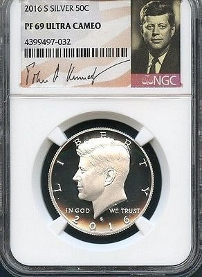 2016 S Silver Kennedy Half Dollar NGC PF69 Ultra Cameo (Signature Series)
