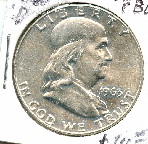 1963 D Franklin Half Dollar Denver Silver