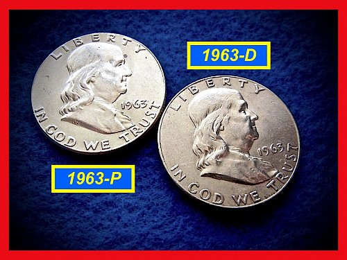1963-P & D  Franklin Half Dollars ––– High Grade XF & AU Coins    (#1482)