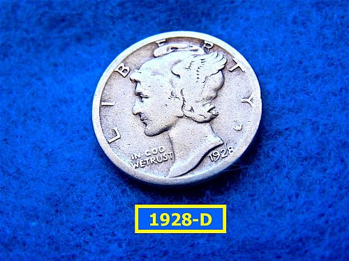 1928–D   MERCURY DIME  CIRCULATED   (#3412)
