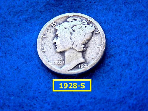 1928-S  MERCURY DIME  CIRCULATED   (#3413)