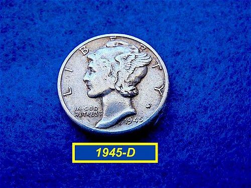 1945 -D  MERCURY DIME  CIRCULATED   (#3417)