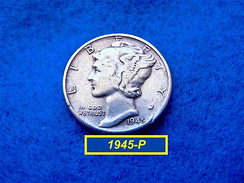 1945-P  MERCURY DIME  CIRCULATED   (#3415)