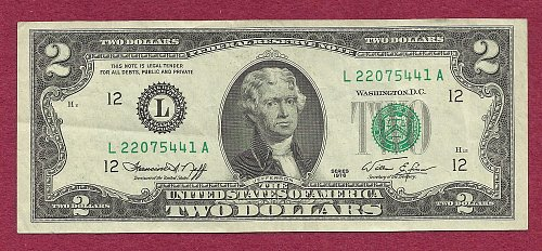 US 1976 UNCIRCULATED $2 Dollar Banknote # L22075441A - Green Seal