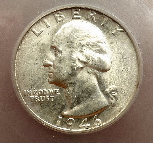 1946 S Washington Quarter BU IN SLAB