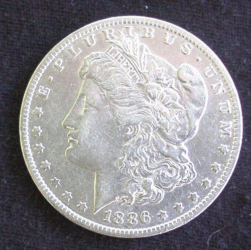 1886 O Morgan Silver Dollar AU 58