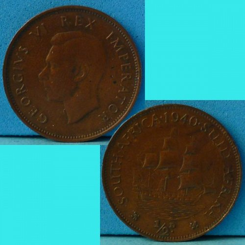 South Africa Suid Afrika 1/2 d Half Penny 1940 km 24