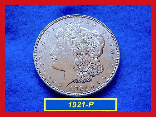 """1921-P Morgan Silver Dollar •••  """"AU-55""""  (#5292)"""