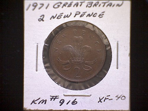 1971 GREAT BRITAIN TWO NEW PENCE  QUEEN ELIZABETH 11