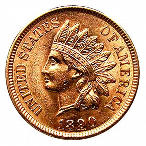 1890 Indian Head Cent - MS RD - Red Gem BU - 4 Diamonds