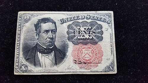 1874 10 Cent Fractional Currency Note Red Seal