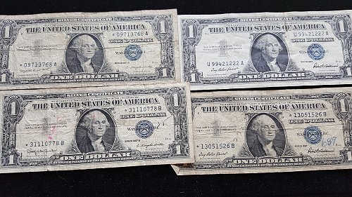 Lot of 4 Silver Certificates Mixed Dates 3 Star Notes