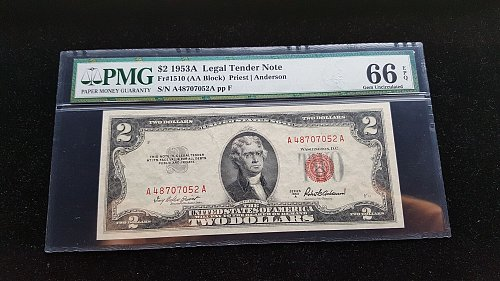 1953A $2 Red Seal PMG 66 EMQ