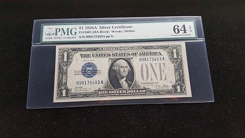 1923A $1 Silver Certificate PMG 64 EPQ