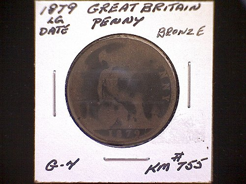 """1879 GREAT BRITAIN QUEEN VICTORIA PENNY """"LARGE DATE"""""""