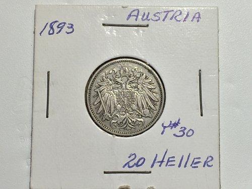 1893 Austria - 20 Heller